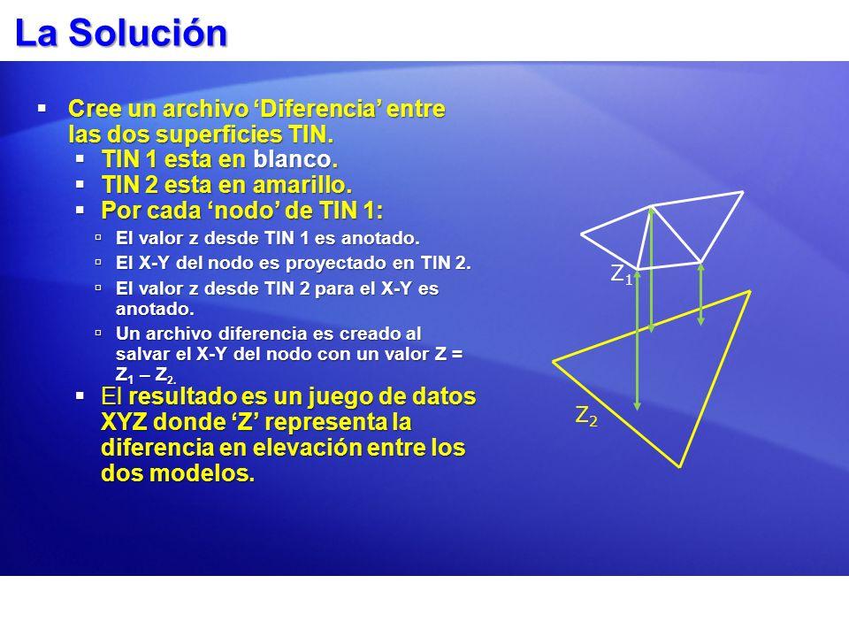 La Solución Cree un archivo 'Diferencia' entre las dos superficies TIN. TIN 1 esta en blanco. TIN 2 esta en amarillo.