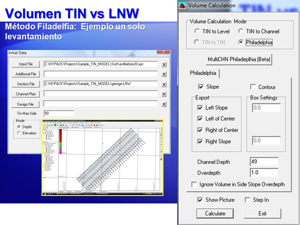 Volumen TIN vs LNW Método Filadelfia: Ejemplo un solo levantamiento