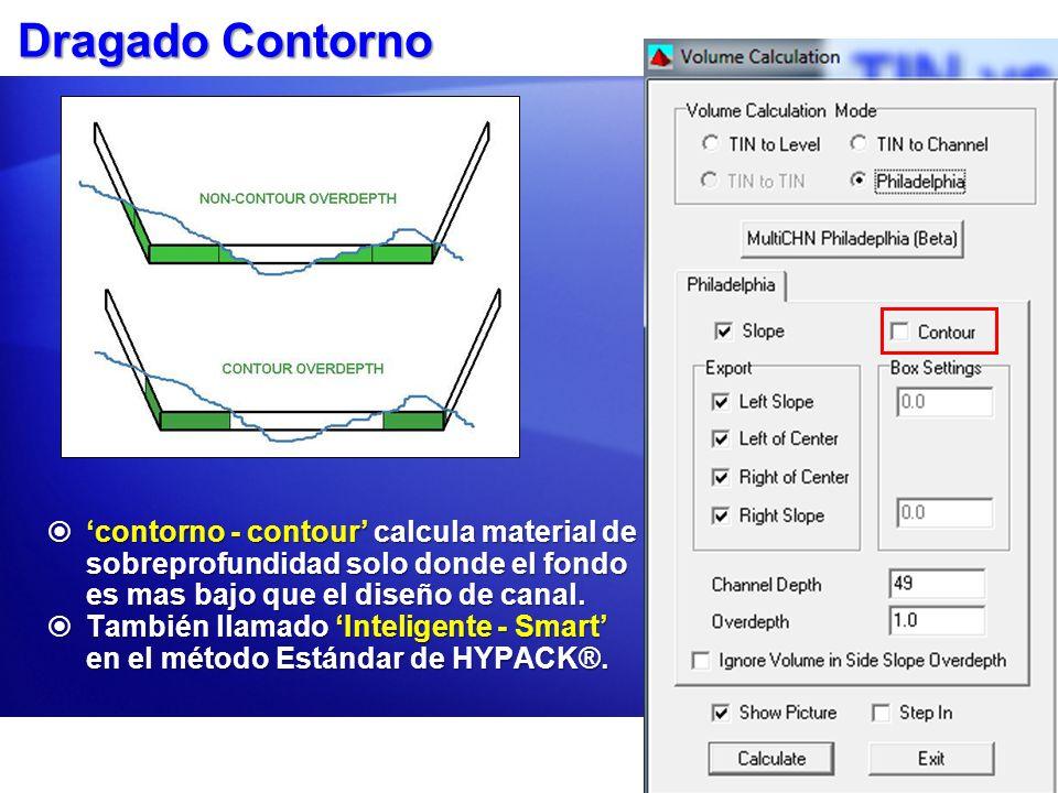 Dragado Contorno 'contorno - contour' calcula material de sobreprofundidad solo donde el fondo es mas bajo que el diseño de canal.