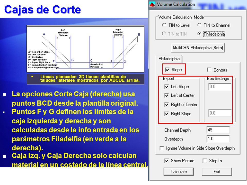 Cajas de Corte Líneas planeadas 3D tienen plantillas de taludes laterales mostrados por ABCDE arriba.