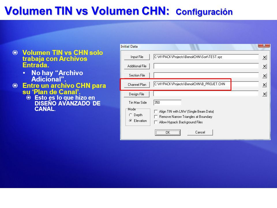Volumen TIN vs Volumen CHN: Configuración