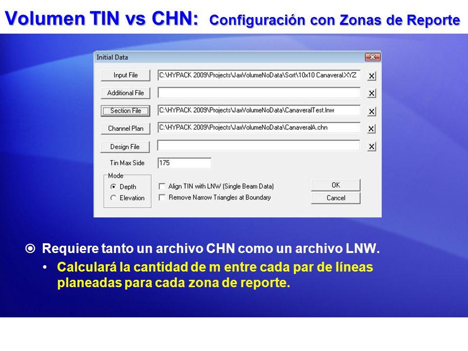 Volumen TIN vs CHN: Configuración con Zonas de Reporte