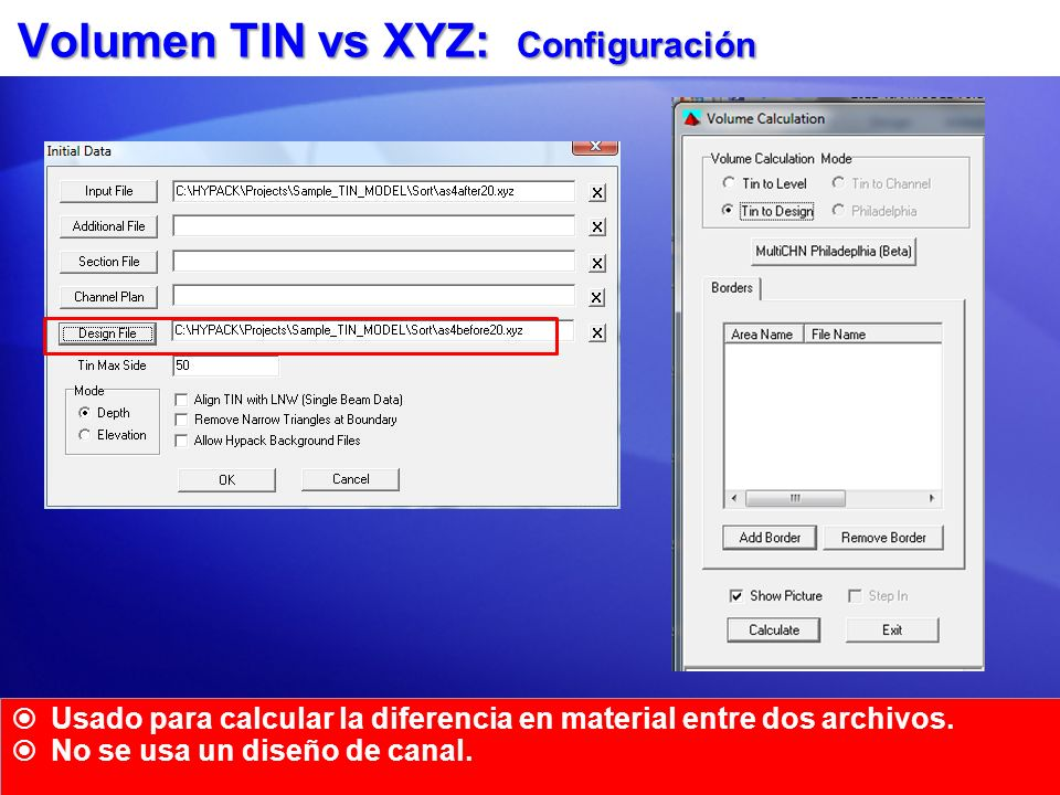 Volumen TIN vs XYZ: Configuración