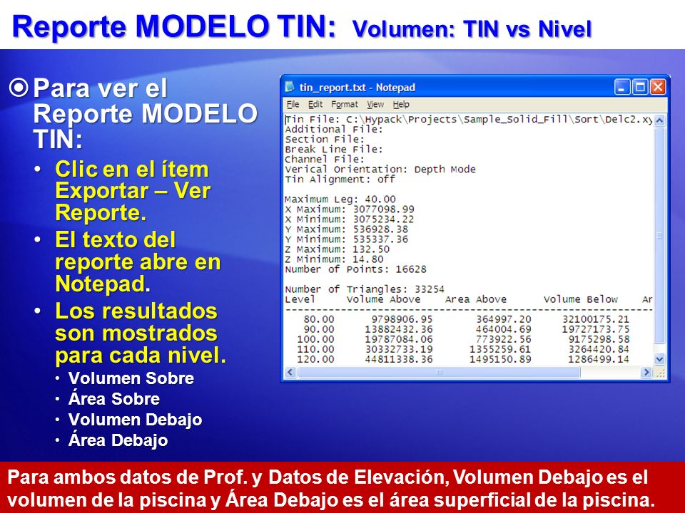 Reporte MODELO TIN: Volumen: TIN vs Nivel