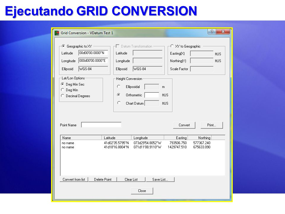 Ejecutando GRID CONVERSION