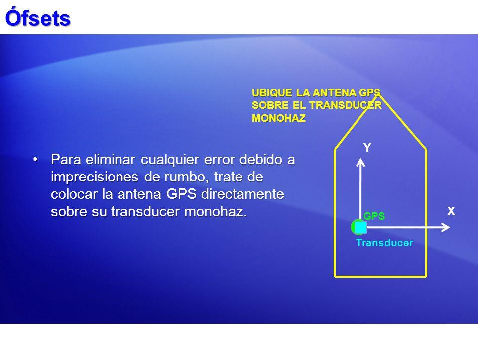 Ófsets UBIQUE LA ANTENA GPS SOBRE EL TRANSDUCER MONOHAZ. Y.