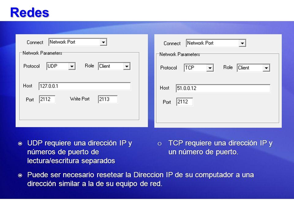 Redes UDP requiere una dirección IP y números de puerto de lectura/escritura separados. TCP requiere una dirección IP y un número de puerto.