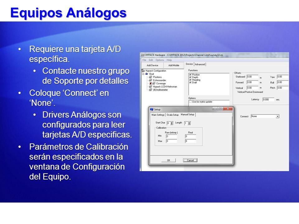 Equipos Análogos Requiere una tarjeta A/D específica.