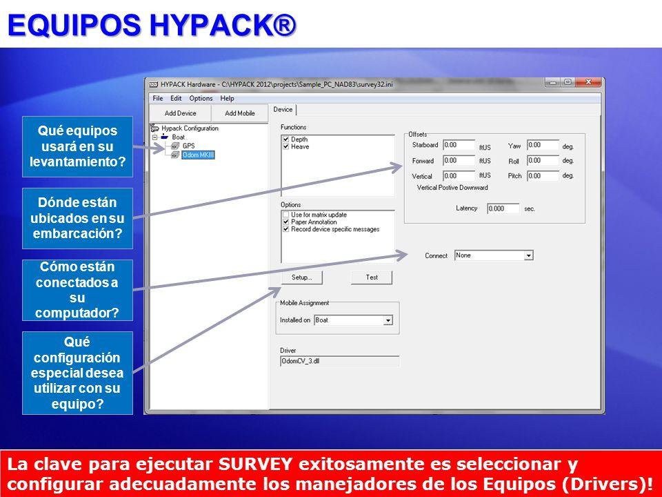 EQUIPOS HYPACK® Qué equipos usará en su levantamiento Dónde están ubicados en su embarcación Cómo están conectados a su computador