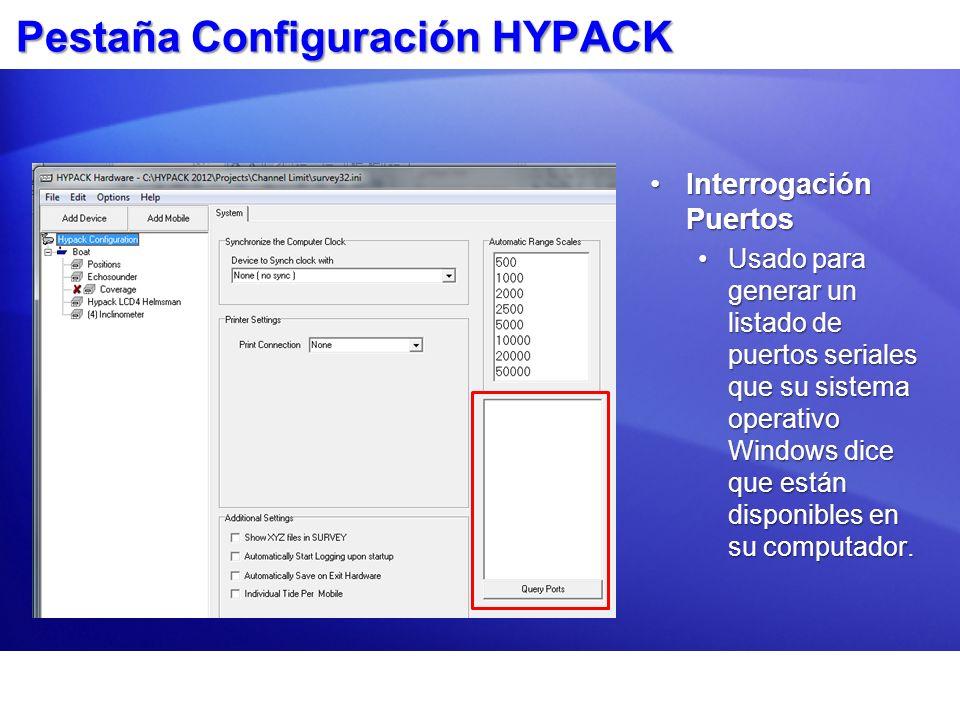 Pestaña Configuración HYPACK