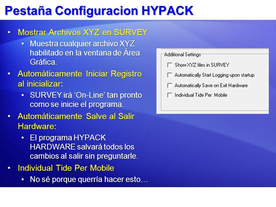 Pestaña Configuracion HYPACK