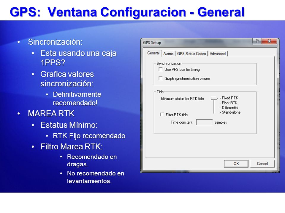 GPS: Ventana Configuracion - General
