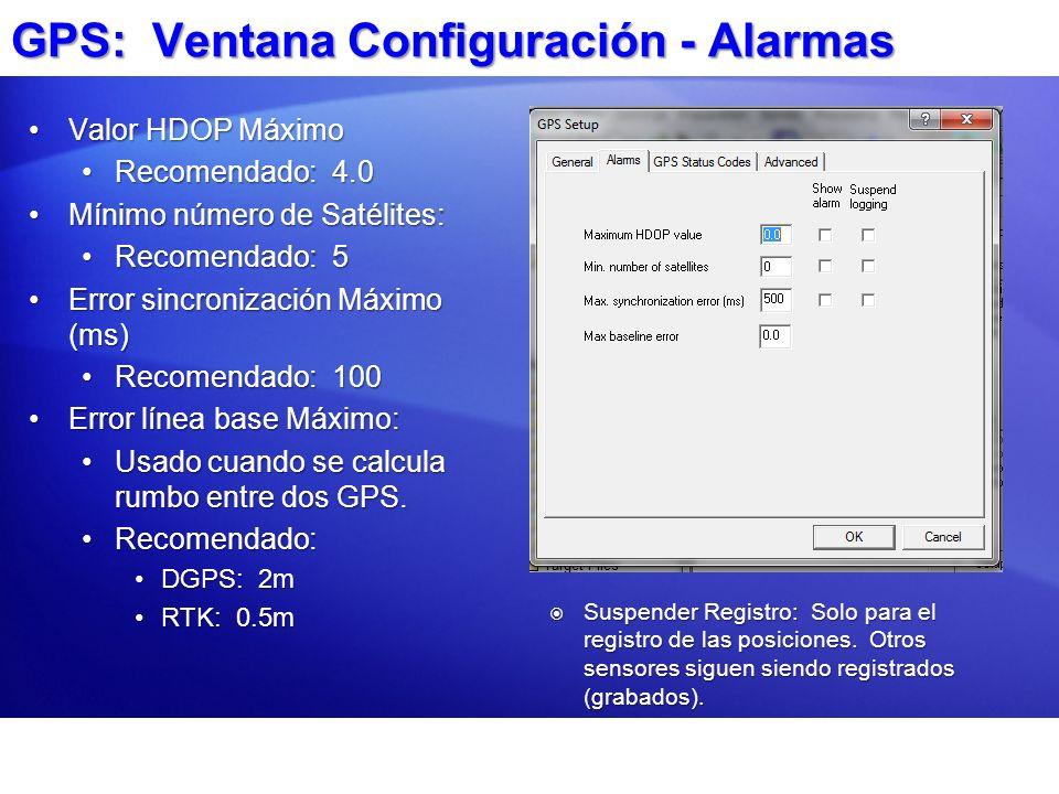 GPS: Ventana Configuración - Alarmas