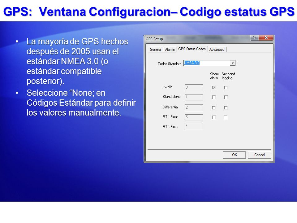 GPS: Ventana Configuracion– Codigo estatus GPS