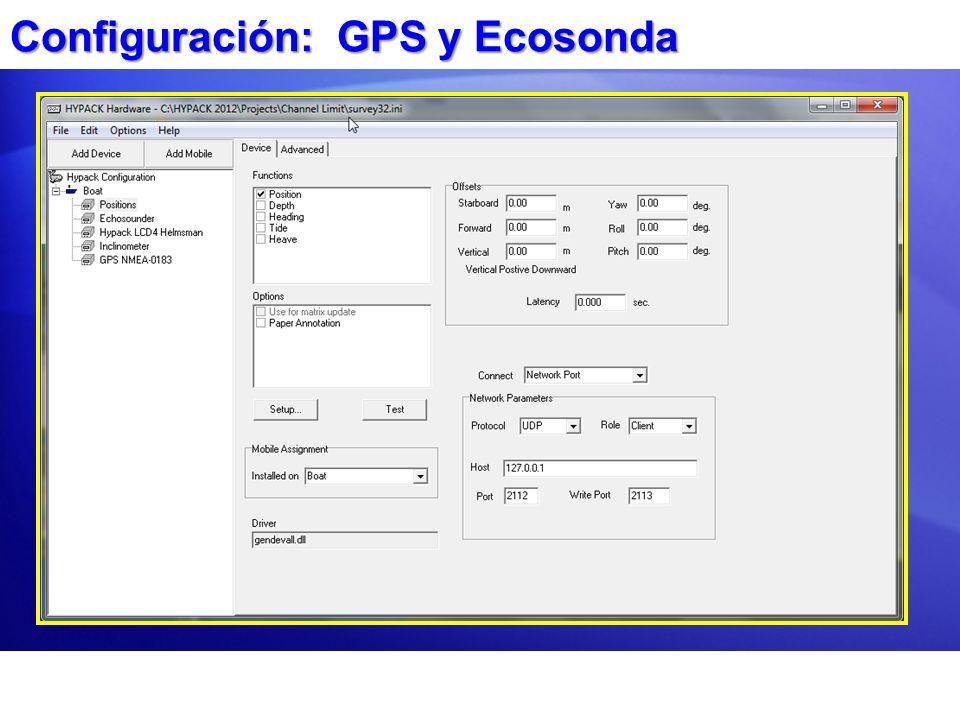 Configuración: GPS y Ecosonda