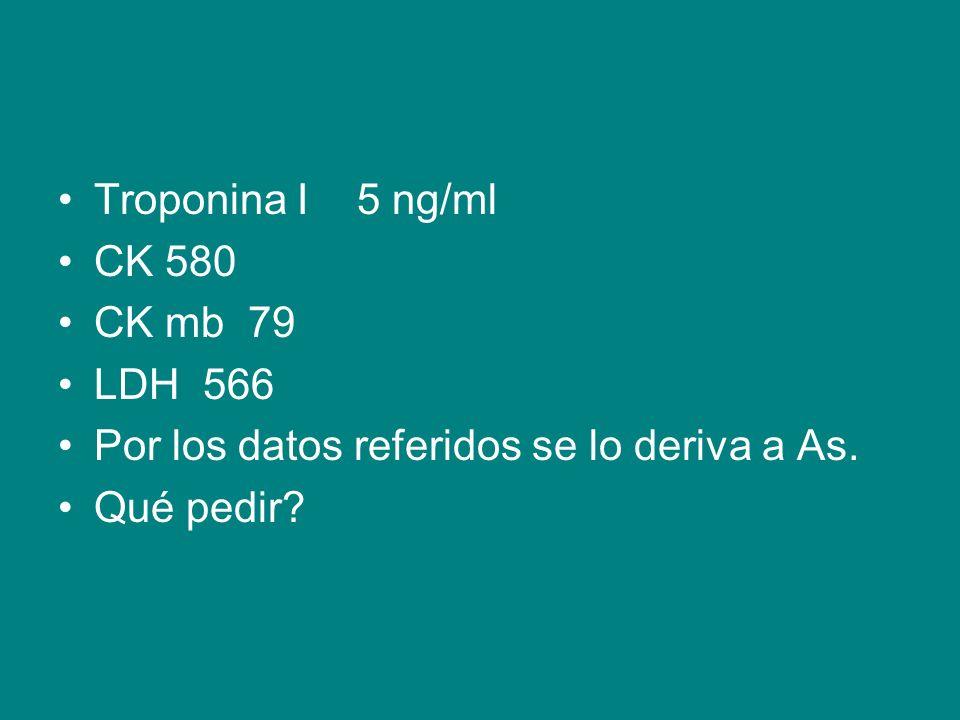 Troponina I 5 ng/ml CK 580. CK mb 79. LDH 566.