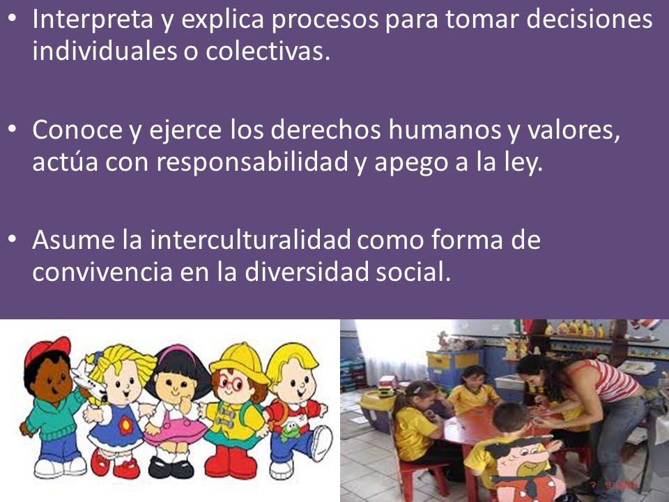 Interpreta y explica procesos para tomar decisiones individuales o colectivas.