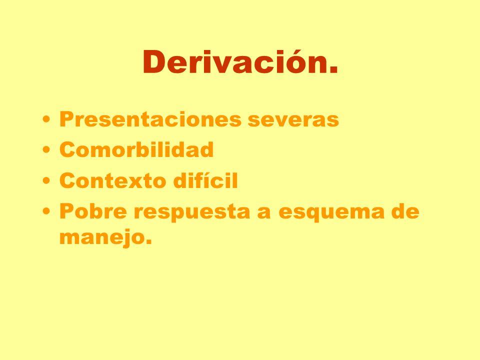 Derivación. Presentaciones severas Comorbilidad Contexto difícil