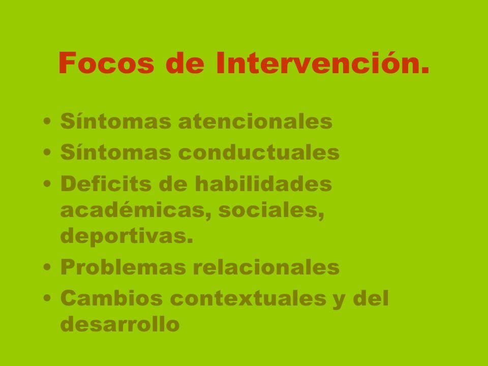 Focos de Intervención. Síntomas atencionales Síntomas conductuales