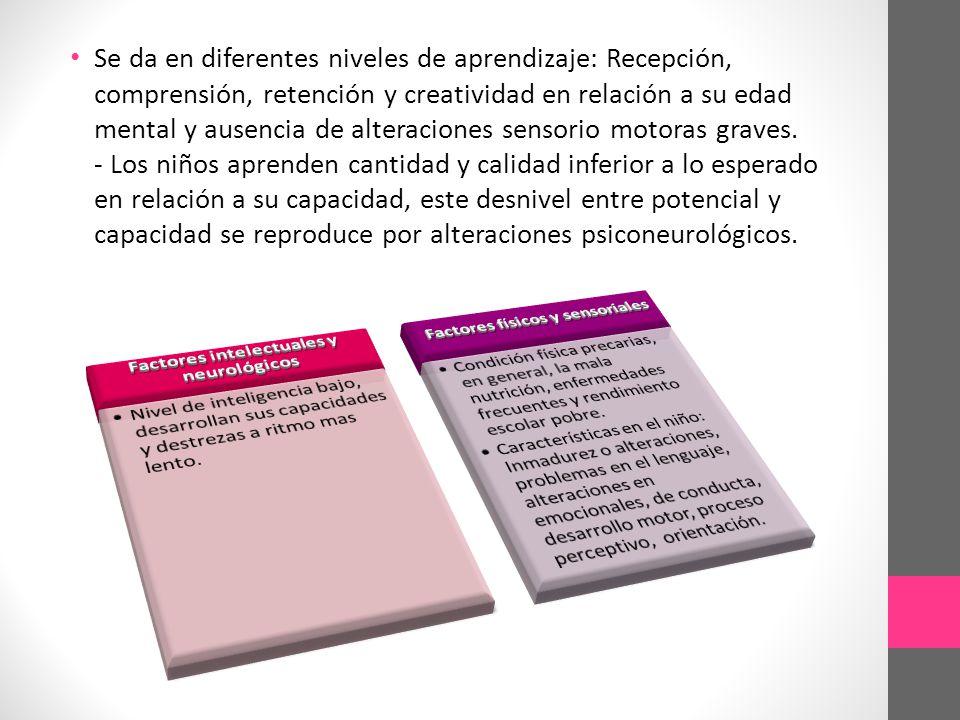 Factores intelectuales y neurológicos Factores físicos y sensoriales