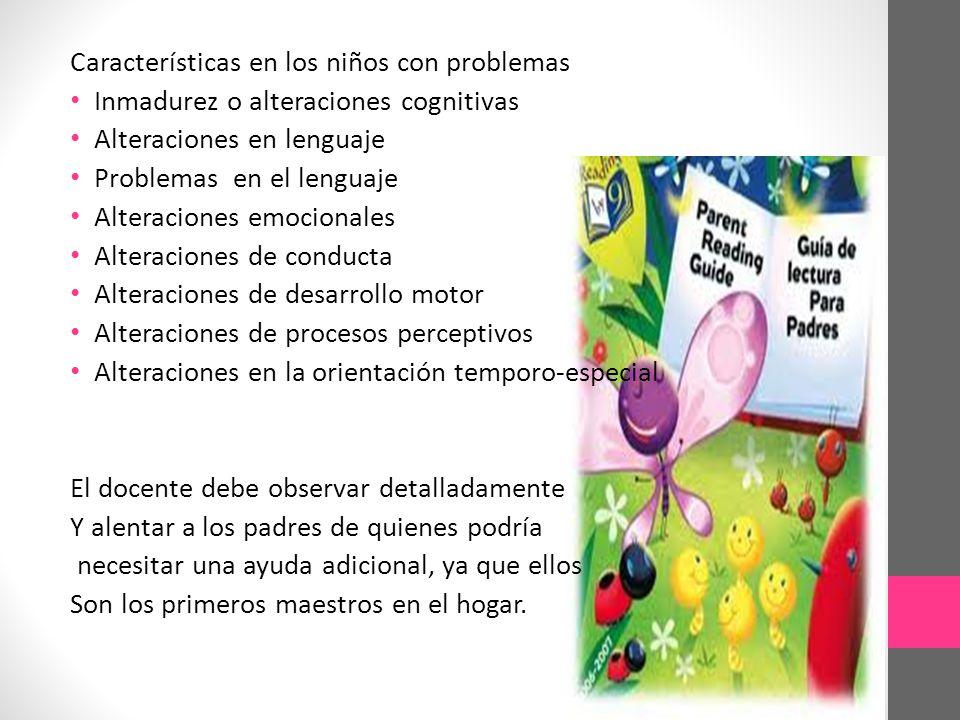 Características en los niños con problemas