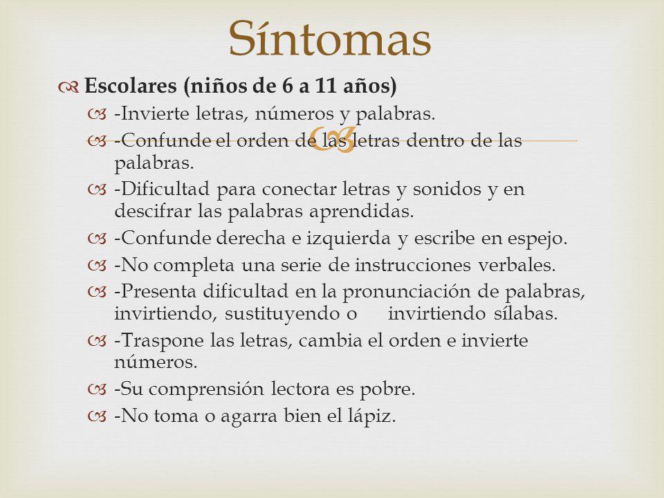 Síntomas Escolares (niños de 6 a 11 años)
