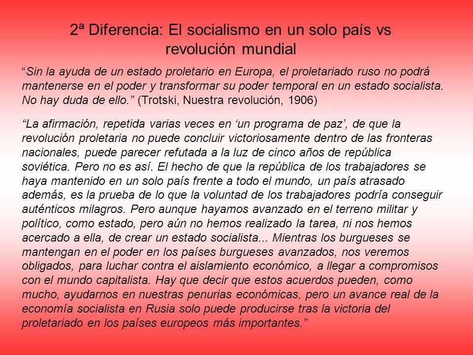2ª Diferencia: El socialismo en un solo país vs revolución mundial