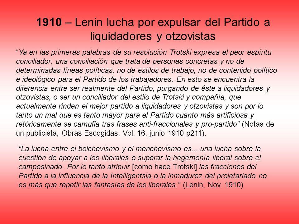 1910 – Lenin lucha por expulsar del Partido a liquidadores y otzovistas