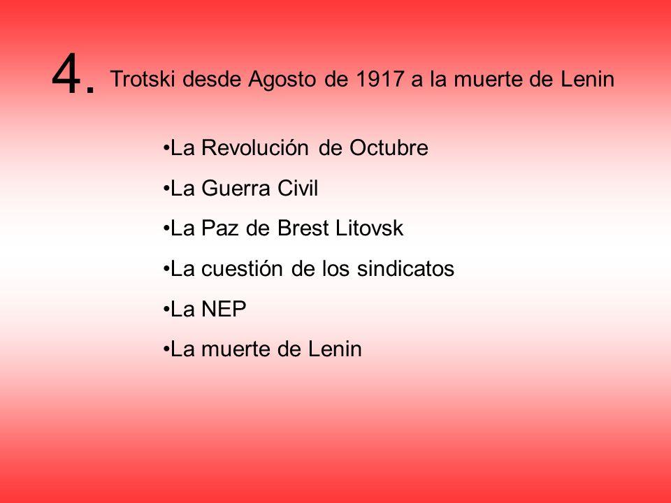 4. Trotski desde Agosto de 1917 a la muerte de Lenin