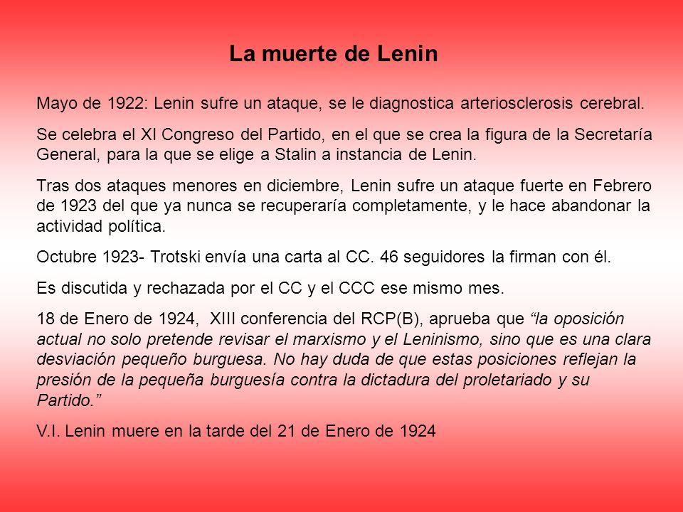 La muerte de Lenin Mayo de 1922: Lenin sufre un ataque, se le diagnostica arteriosclerosis cerebral.