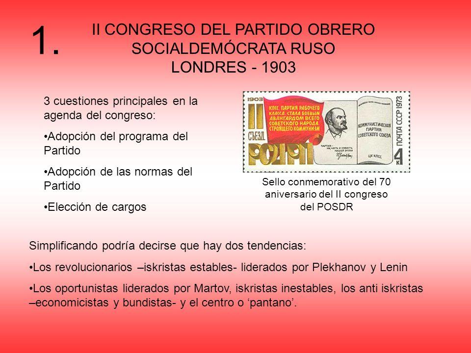 1. II CONGRESO DEL PARTIDO OBRERO SOCIALDEMÓCRATA RUSO LONDRES - 1903