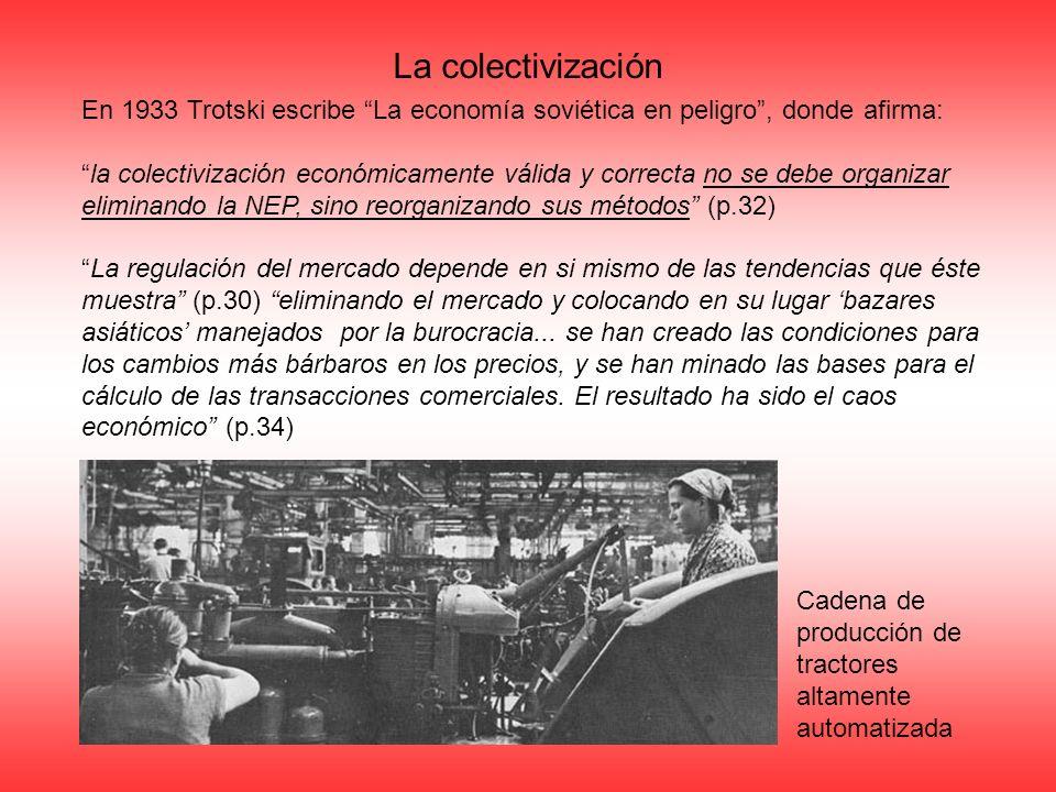 La colectivización En 1933 Trotski escribe La economía soviética en peligro , donde afirma: