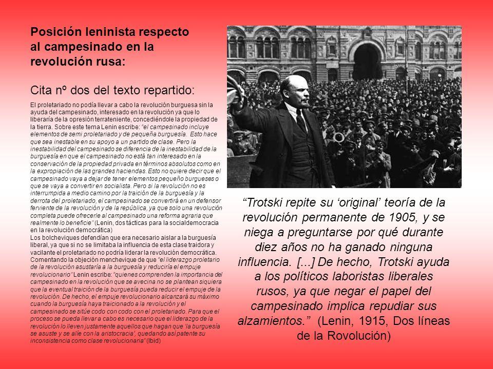 Posición leninista respecto al campesinado en la revolución rusa: