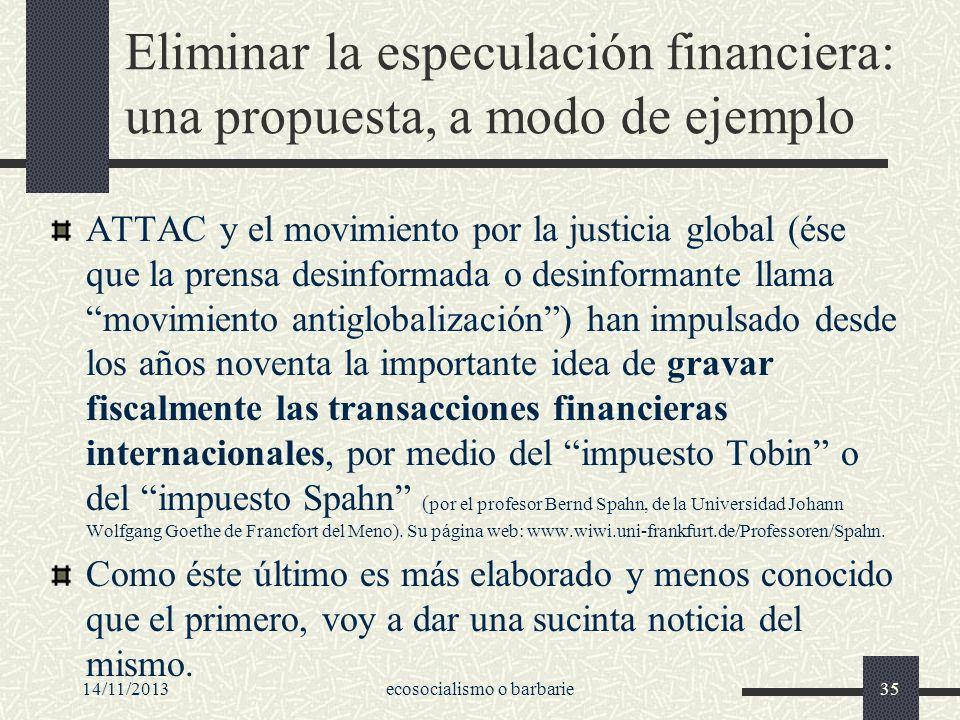 Eliminar la especulación financiera: una propuesta, a modo de ejemplo