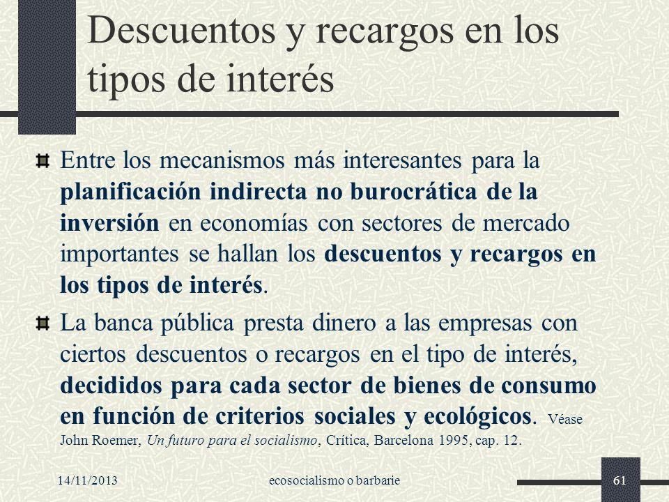 Descuentos y recargos en los tipos de interés