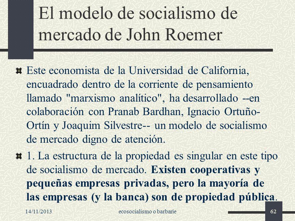 El modelo de socialismo de mercado de John Roemer