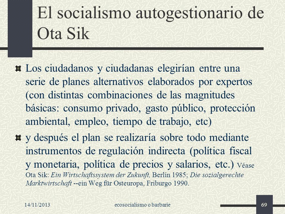 El socialismo autogestionario de Ota Sik