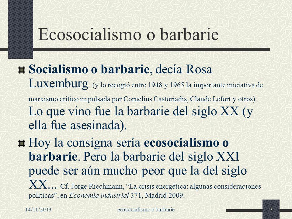 Ecosocialismo o barbarie