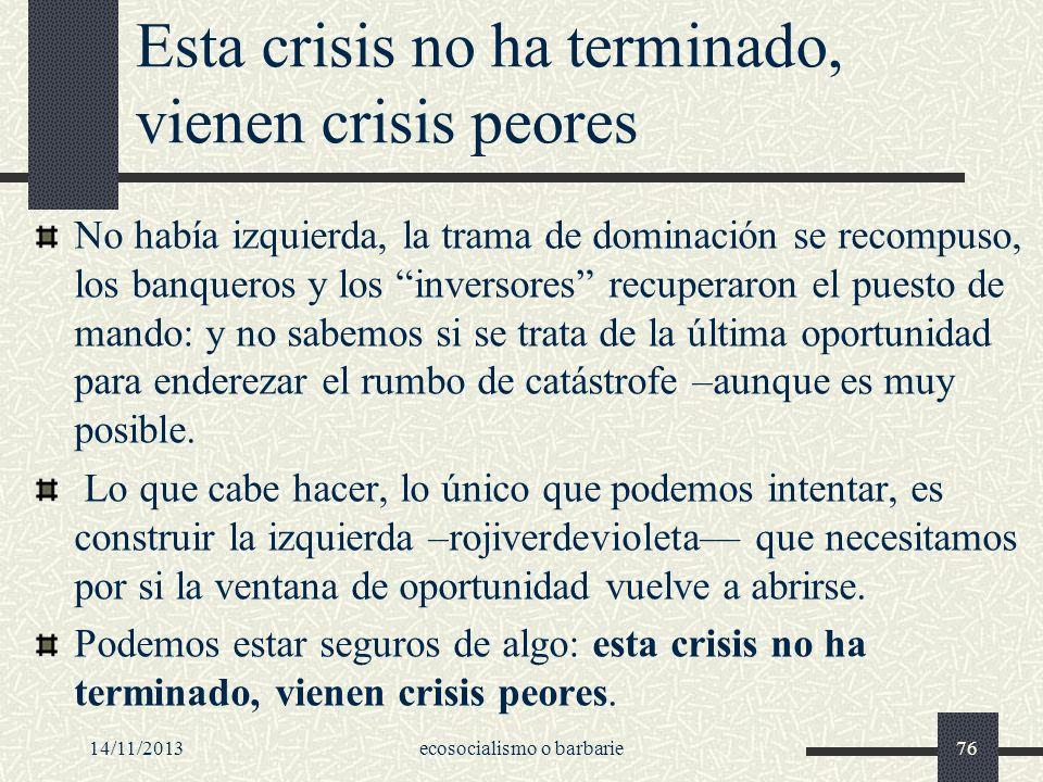 Esta crisis no ha terminado, vienen crisis peores