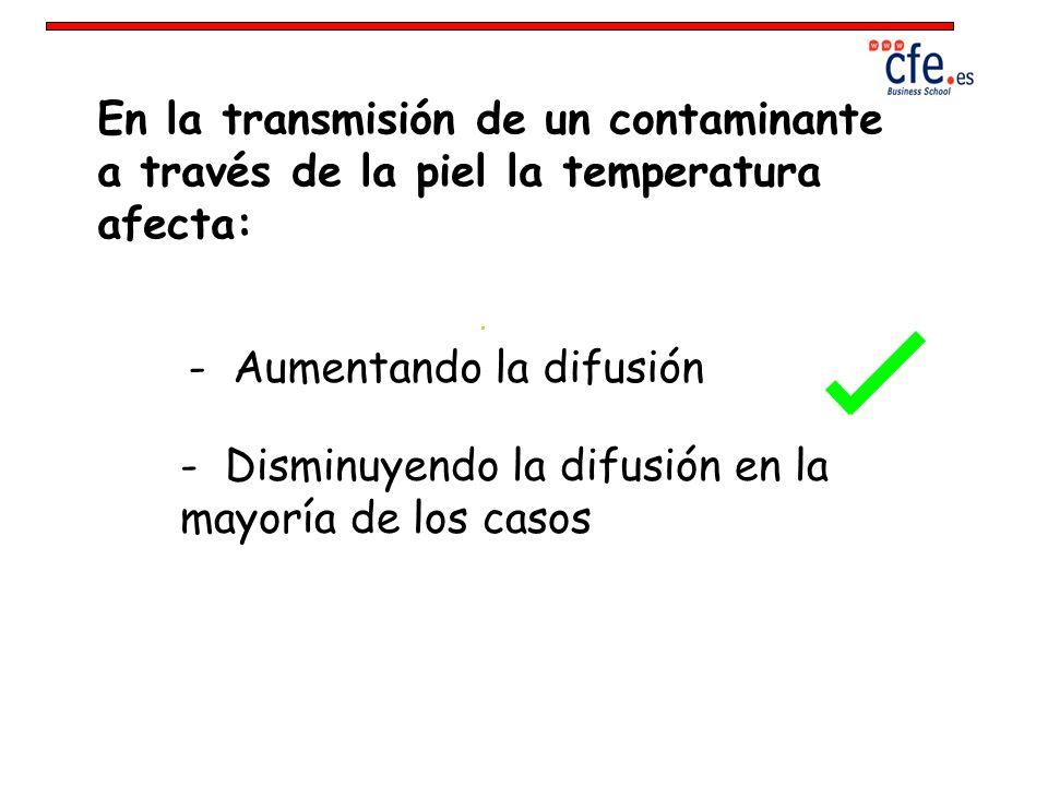 En la transmisión de un contaminante a través de la piel la temperatura afecta: