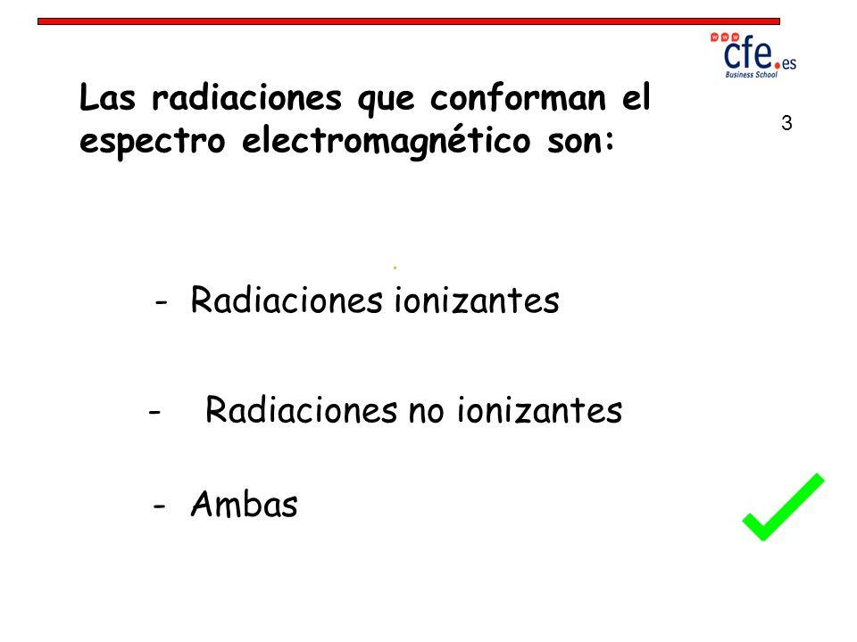 Las radiaciones que conforman el espectro electromagnético son: