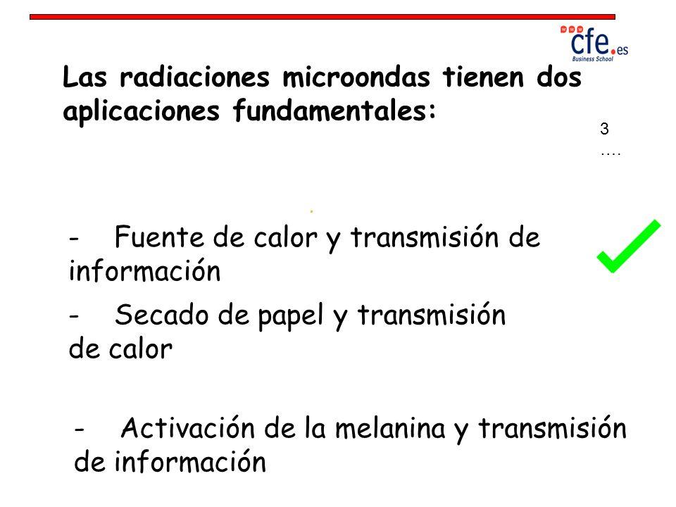 Las radiaciones microondas tienen dos aplicaciones fundamentales:
