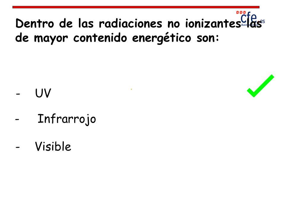 Dentro de las radiaciones no ionizantes las de mayor contenido energético son: