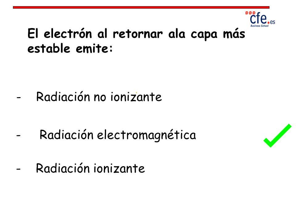 El electrón al retornar ala capa más estable emite: