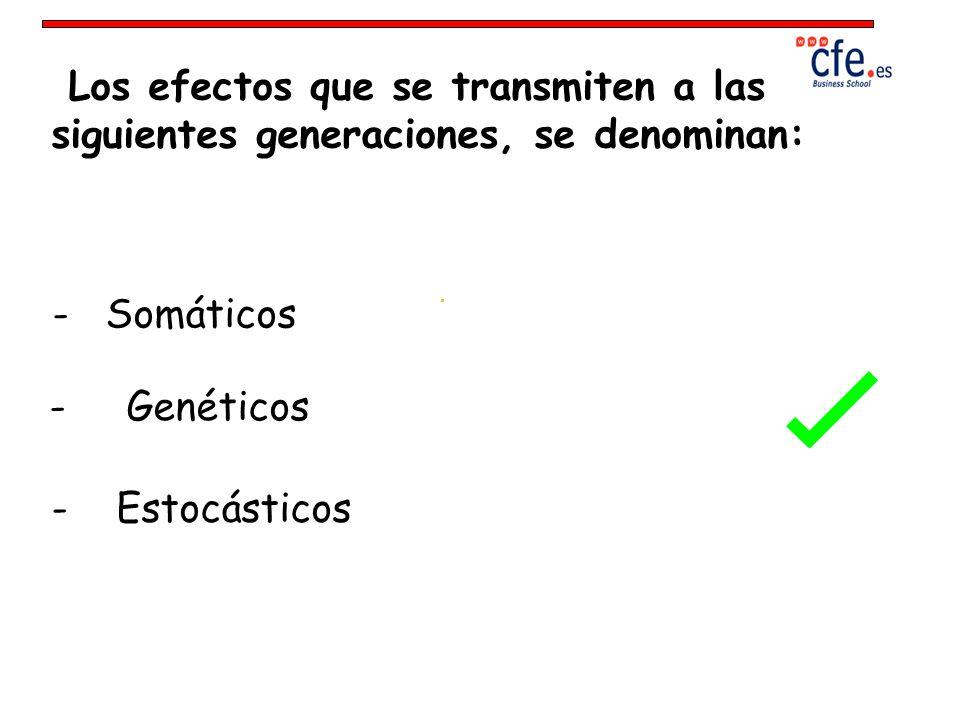 Los efectos que se transmiten a las siguientes generaciones, se denominan: