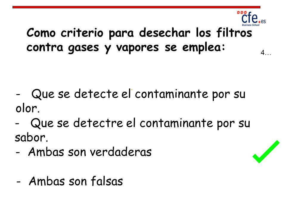 - Que se detecte el contaminante por su olor.