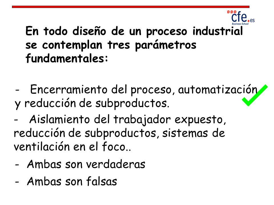 En todo diseño de un proceso industrial se contemplan tres parámetros fundamentales: