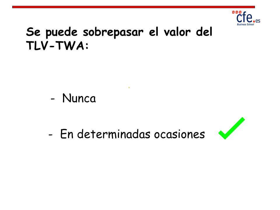 Se puede sobrepasar el valor del TLV-TWA:
