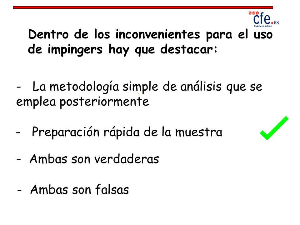 Dentro de los inconvenientes para el uso de impingers hay que destacar: