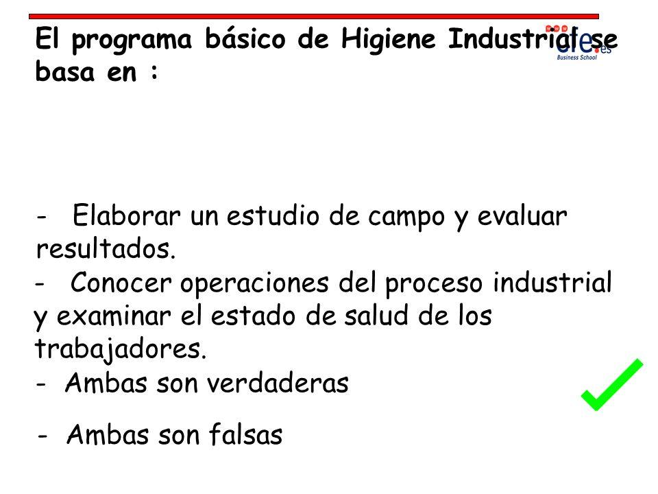 El programa básico de Higiene Industrial se basa en :